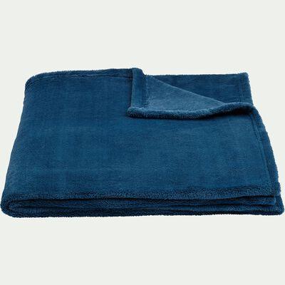Plaid effet polaire en polyester - bleu figuerolles 130x170cm-ROBIN