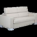 Canapé 3 places convertible en cuir de buffle beige-Mauro