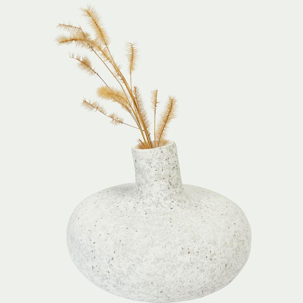 Vase en argile blanc moucheté H13 cm-AGATA