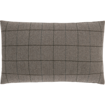 Coussin à carreaux en laine et polyester marron 30x50cm-GERMAIN