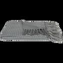 Plaid en acrylique frangé gris 130x170cm-ALAN