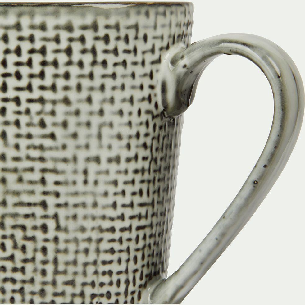 Mug en grès gris effet texturé D11cm-LARGO