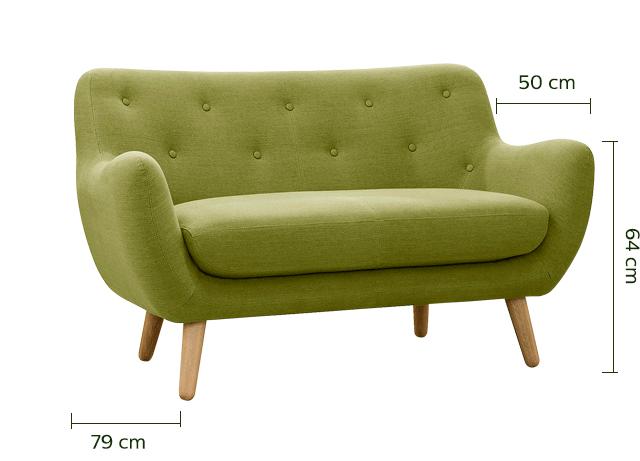 Canapé 2 places fixe vert olive-Poppy