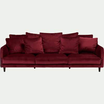 Canapé 5 places fixe en velours - rouge sumac-LENITA