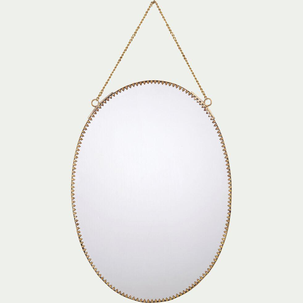 Miroir ovale à chaînette en laiton - doré 22x30,5cm-BRIGITTE