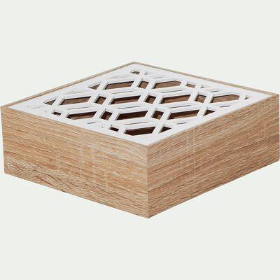 Boîte à thé avec couvercle ajouré blanc 16x16cm-SPIRIT