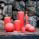 Bougie ronde rouge azérole D6cm-HALBA