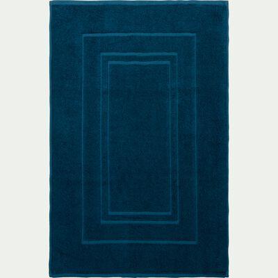 Tapis de bain en coton peigné - bleu figuerolles 50x80cm-AZUR