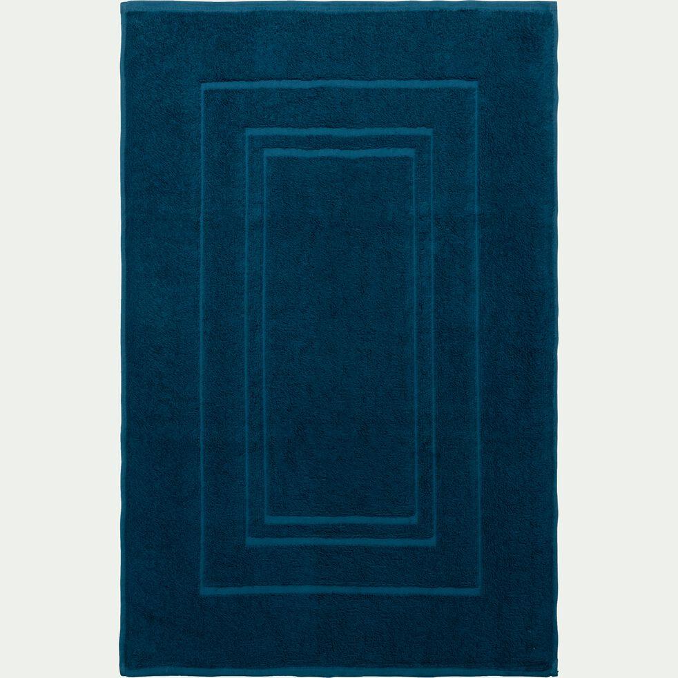 Tapis de bain en coton - bleu figuerolles 50x80cm-AZUR