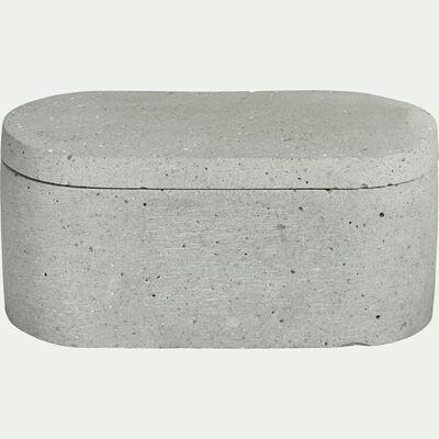 Boîte décorative ovale effet béton en polystone - gris L15xl7,5xH7cm-CALCIS