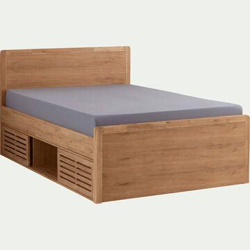 Lit 2 places avec tête de lit et rangements-140x200 cm-GAIA