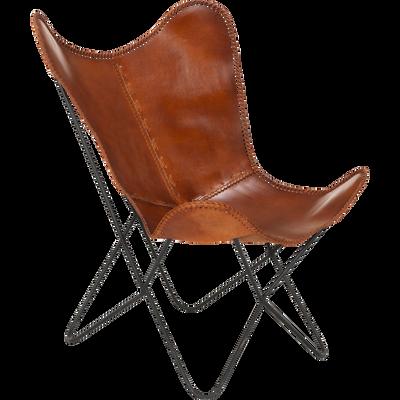 Housse de fauteuil butterfly en cuir camel-BUTTERFLY