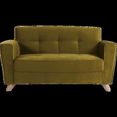 Canapé 2 places fixe en velours vert-VICKY