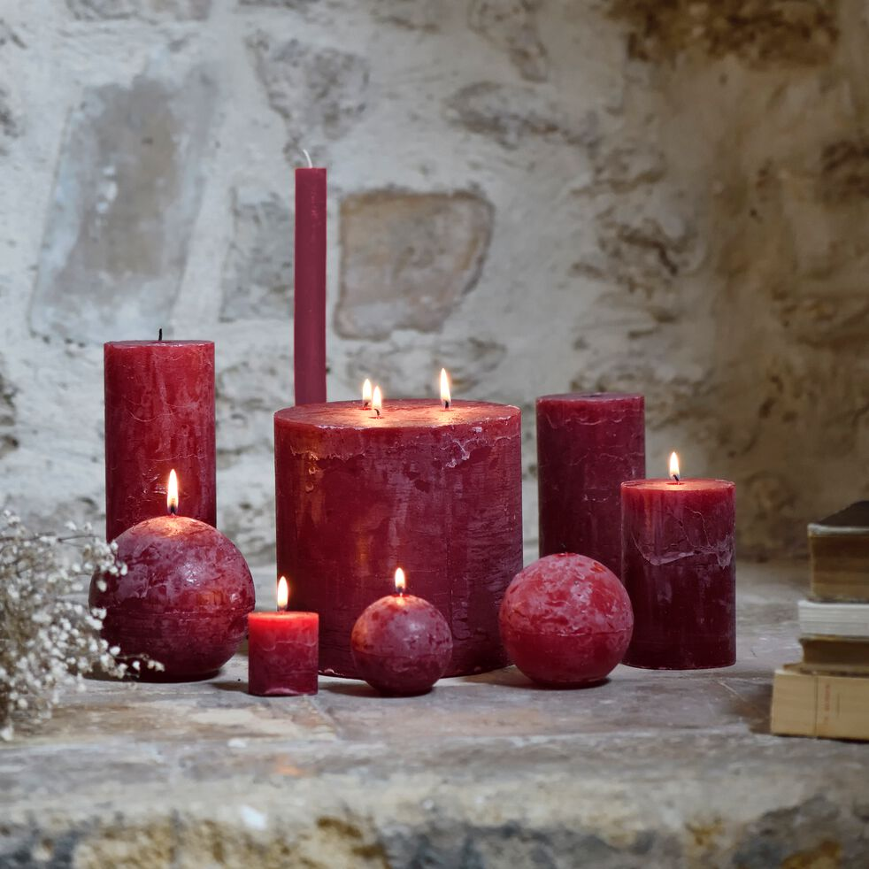 Lot de 2 bougies flambeaux - rouge sumac H30cm-BEJAIA