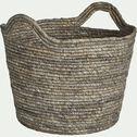 Panier déco en feuilles de maïs - naturel H23xD30cm-Milla