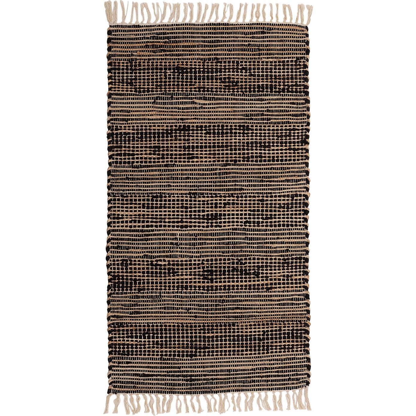 Tapis en coton recyclé et jute - noir 110x60cm-lieto