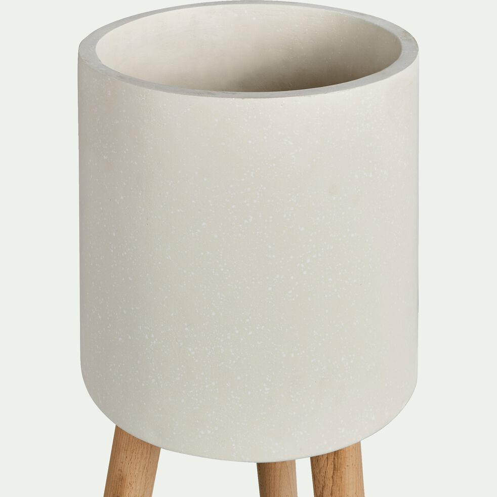 Cache-pot en pierre et bois H78xD30cm-TAMARIS