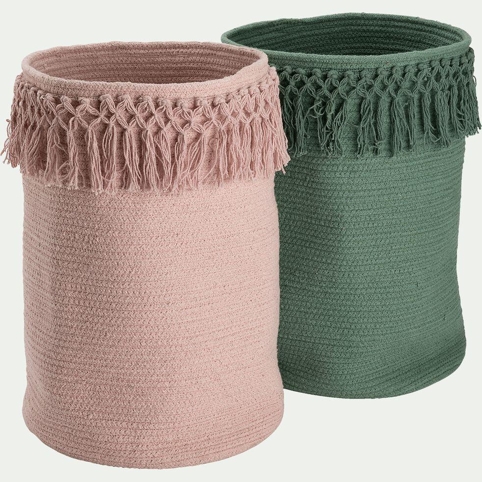 Panier de rangement frangé en coton - rose rosa D30xH45cm-Lisa