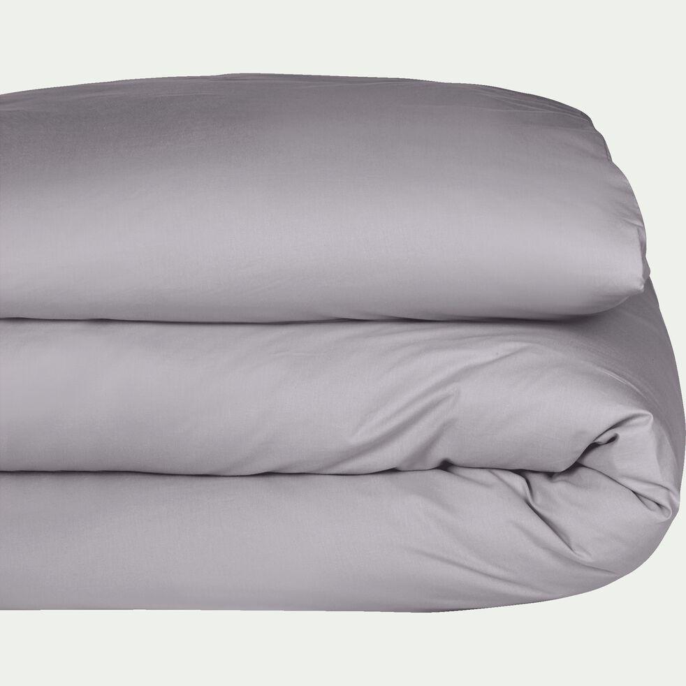 Housse de couette en percale de coton - gris restanque 260x240cm-FLORE