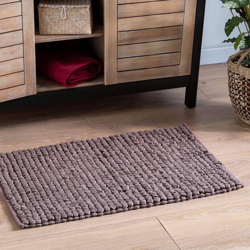 Tapis de bain en coton et polyester recyclés - brun châtaigner 50x80cm-JAN