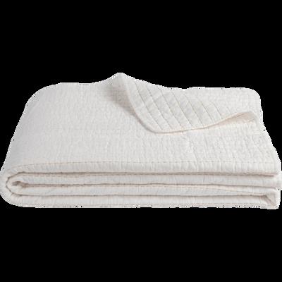 Couvre-lit en coton blanc ventoux et beige roucas 180x230cm-CASTEL