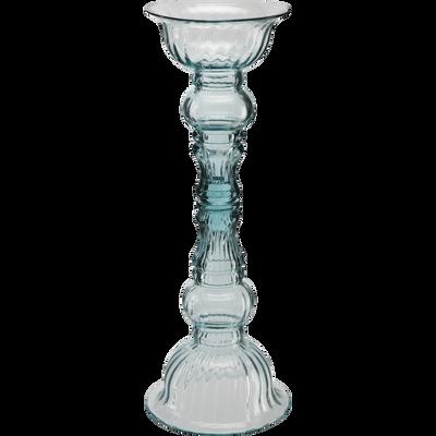 Bougeoir chandelier en verre bleu H44 cm-CASORIA
