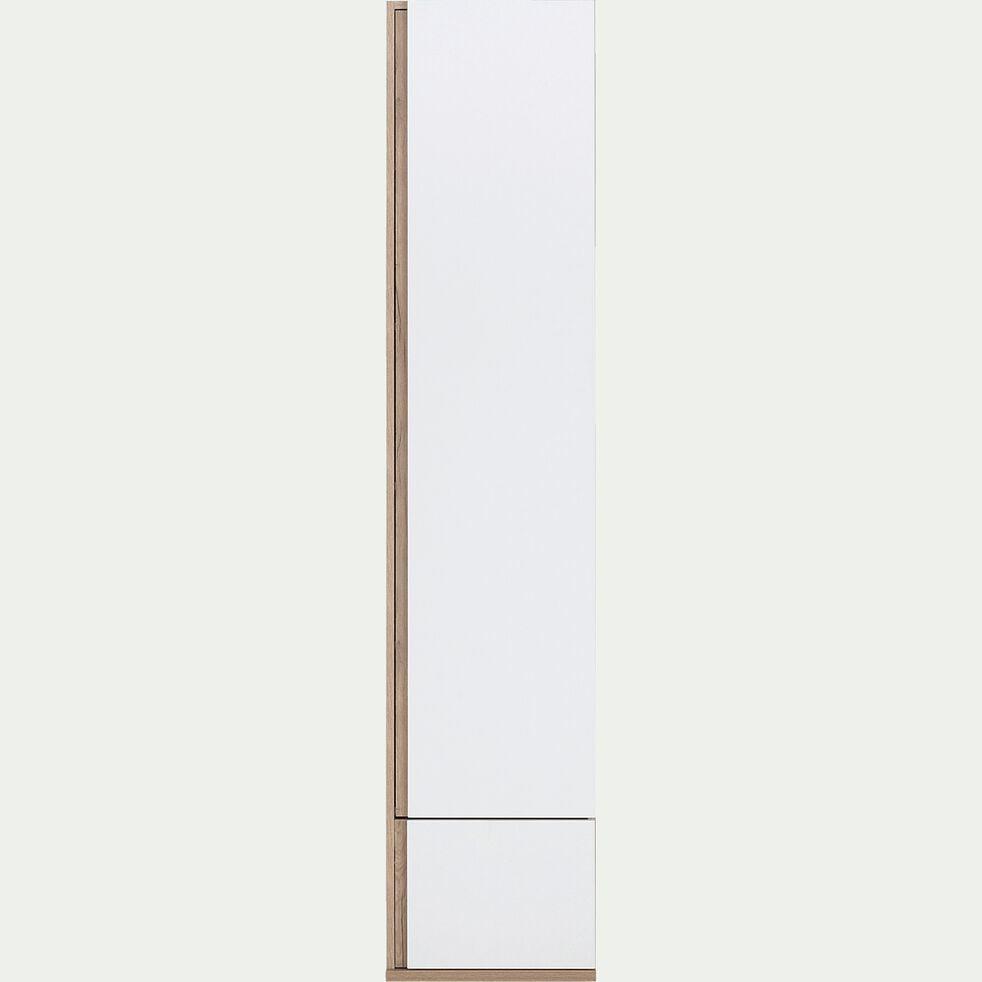 Armoire dressing avec 1 porte et 1 tiroir effet chêne - blanc-NESTOR