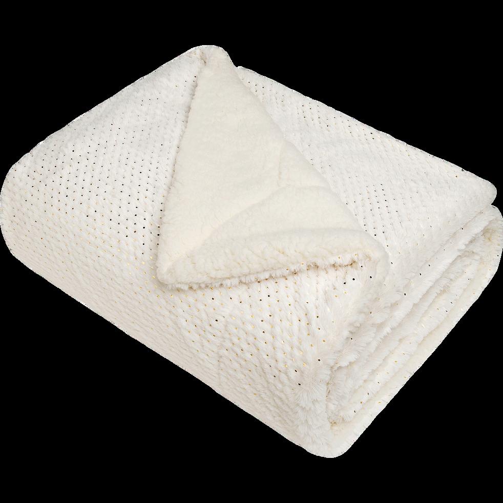 Plaid imitation fourrure blanche à pois dorés 130x170cm-DOLLY