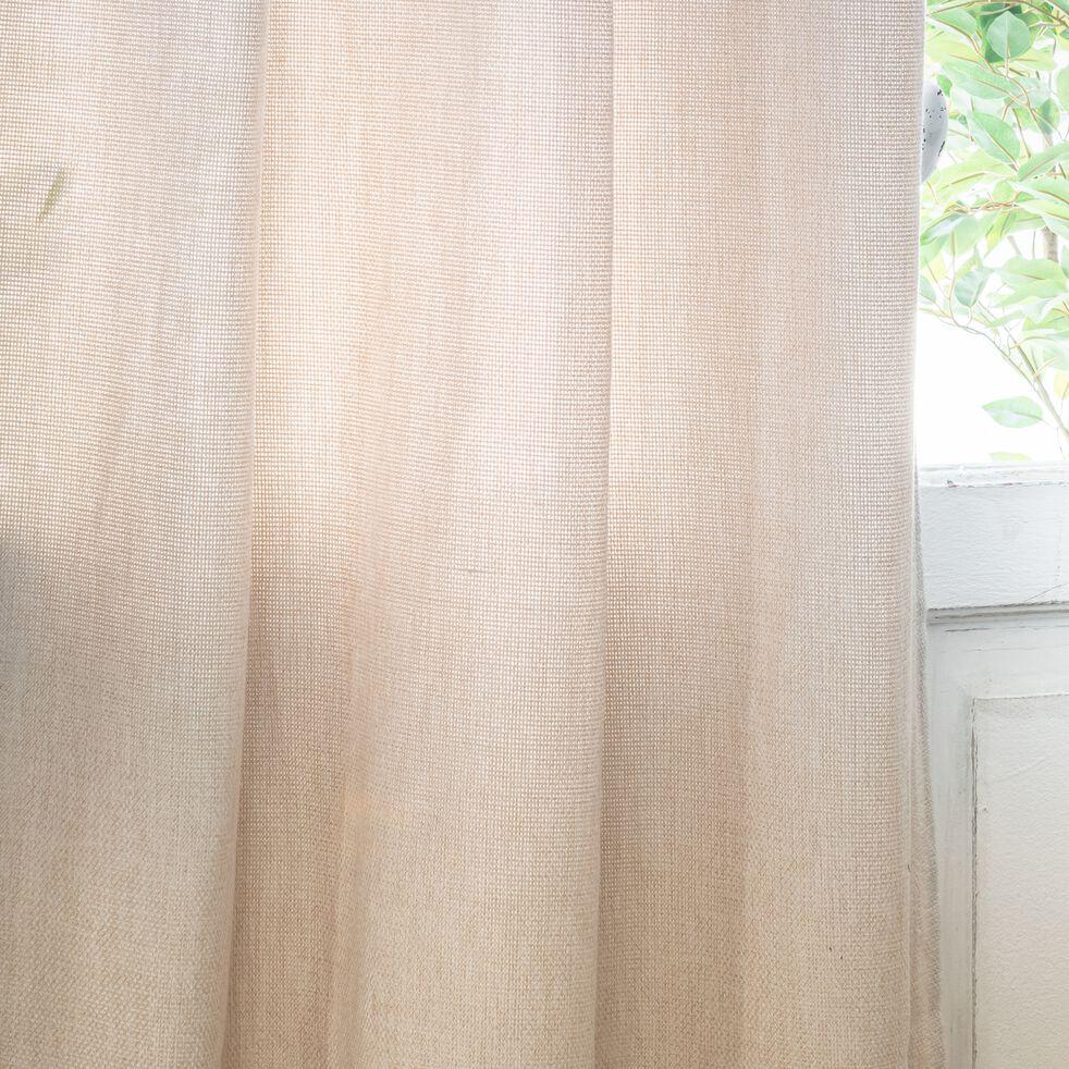 Rideau à œillets en polyester - écru 140x250cm-CADOLIVE