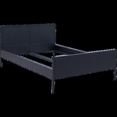 Lit 2 places avec tête de lit en métal Noir - Plusieurs tailles-ANVERS