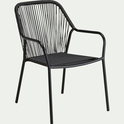 Chaise de jardin en acier et corde avec accoudoirs - noir-JADIS