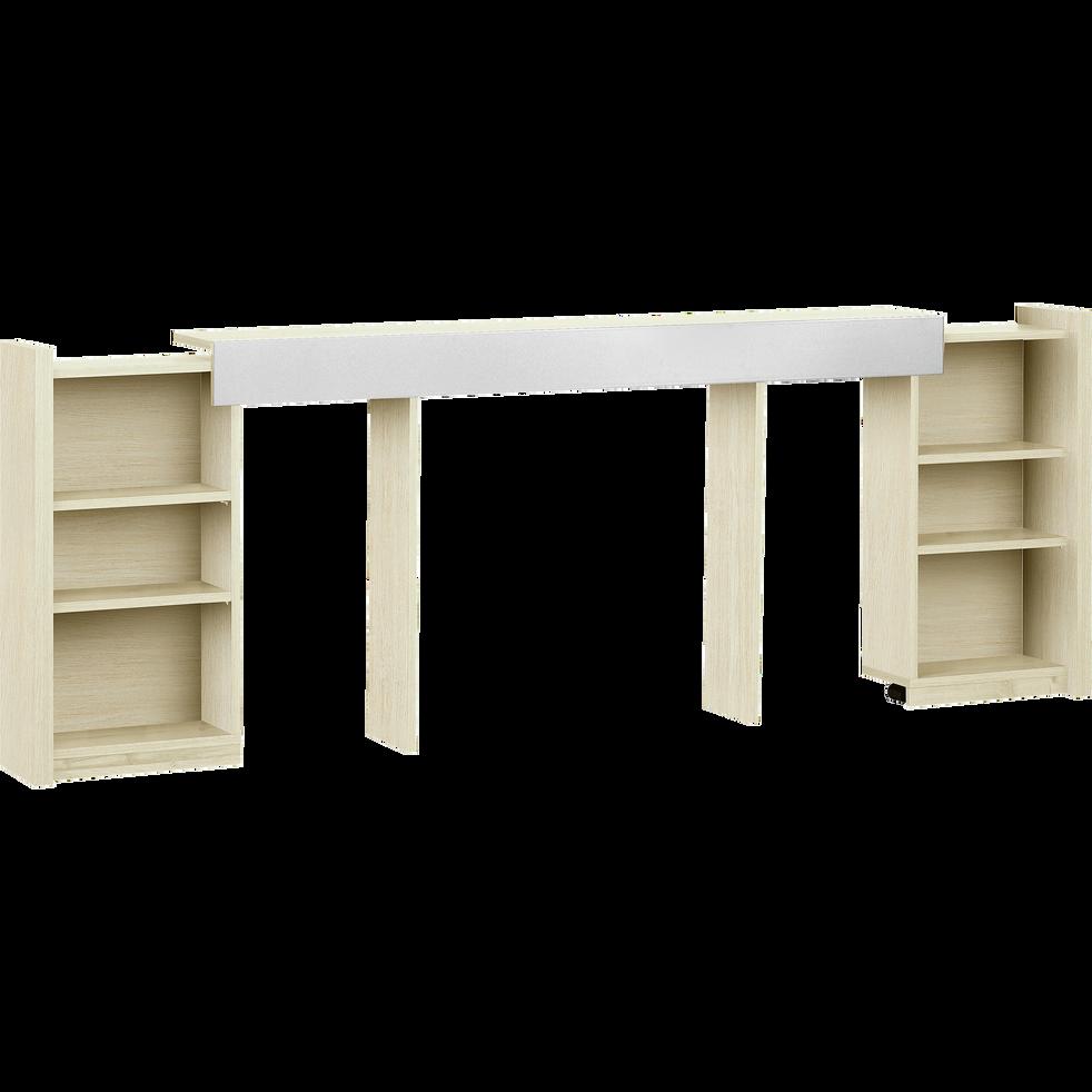 Tête de lit rangeante cerisier blanchi pour lit L140 cm-BROOKLYN