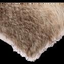 Coussin imitation fourrure marron 45x45cm-LOUP