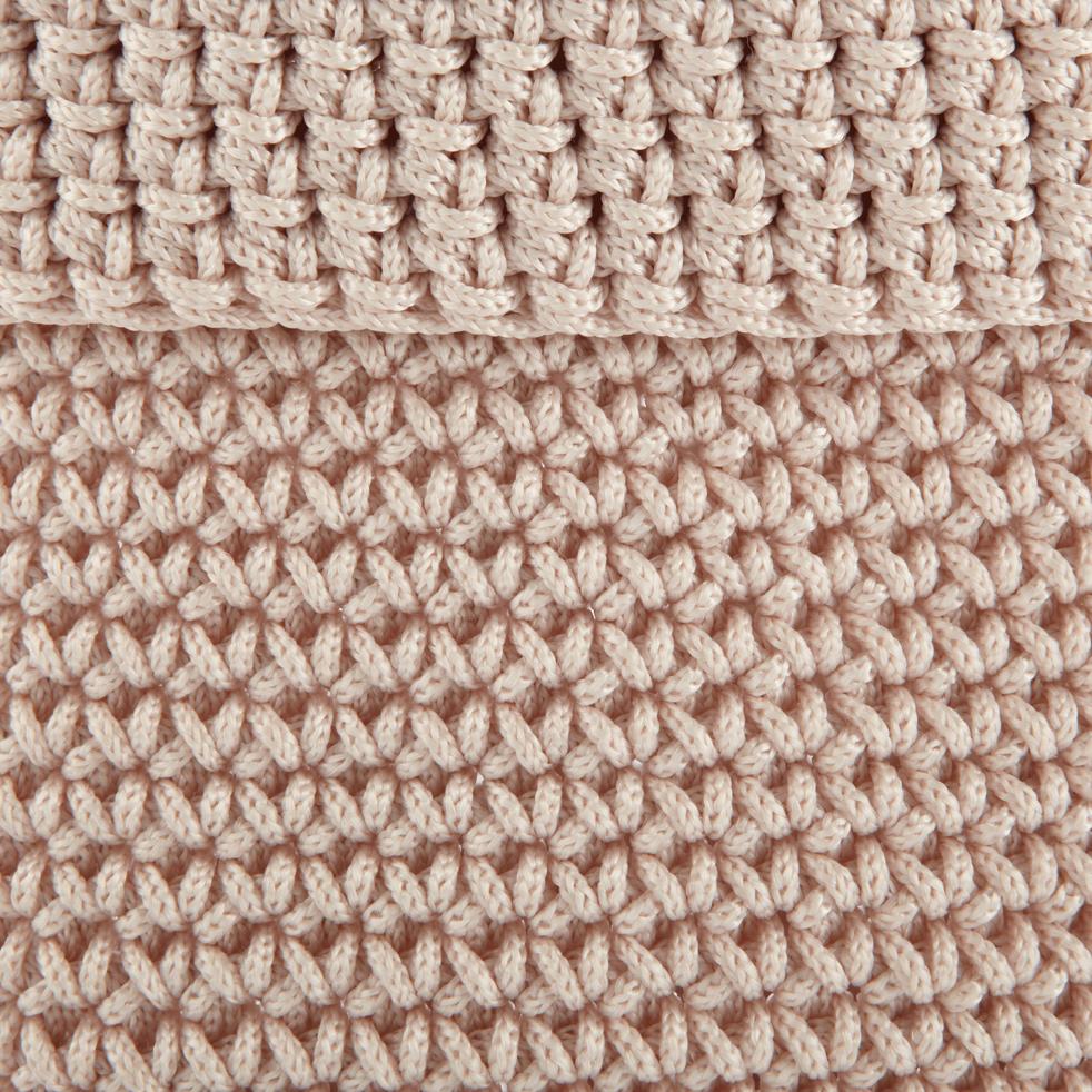 Panier en crochet Rose grège Ø15 cm-HONNORE