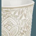 Lot de 6 tasses en porcelaine gris borie motif amande 9cl-CAMILLE