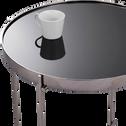 Table basse en métal coloris argent noirci-COBA