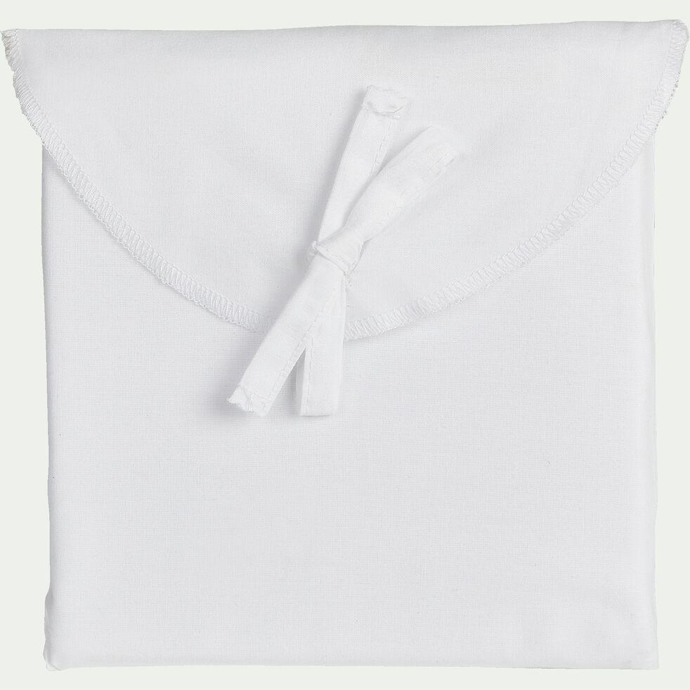 Lot de 2 taies d'oreiller en percale de coton - blanc 50x70cm-FLORE