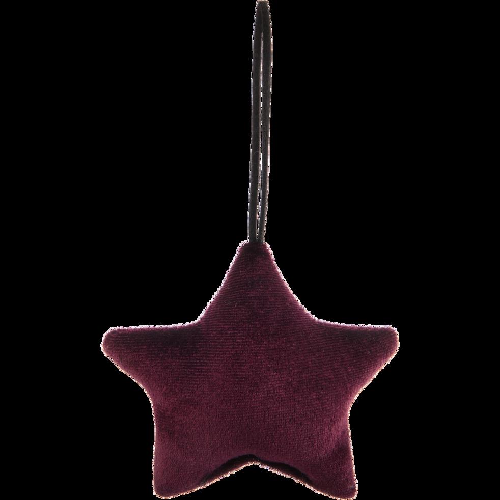 Décoration à suspendre de Noël en velours violet H9cm-Cerces