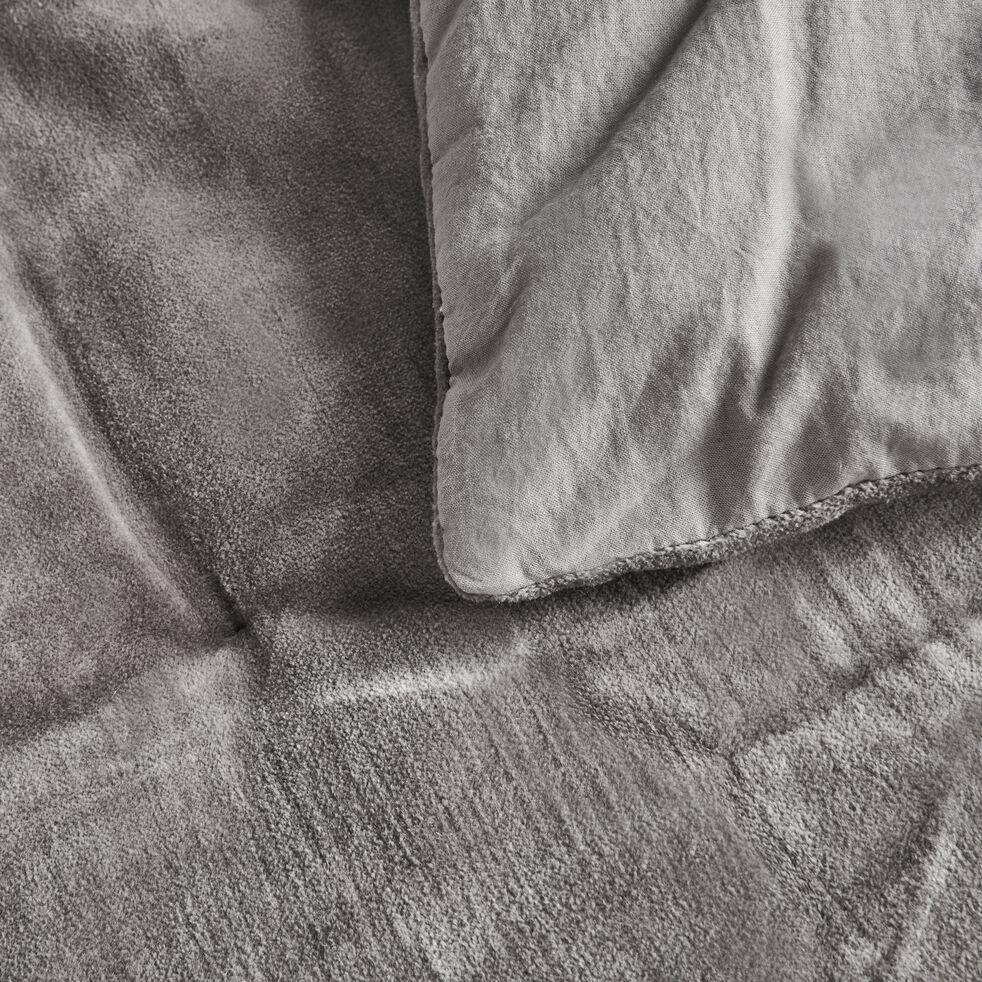 Édredon matelassé en velours de coton - gris restanque 100x180cm-EDEN