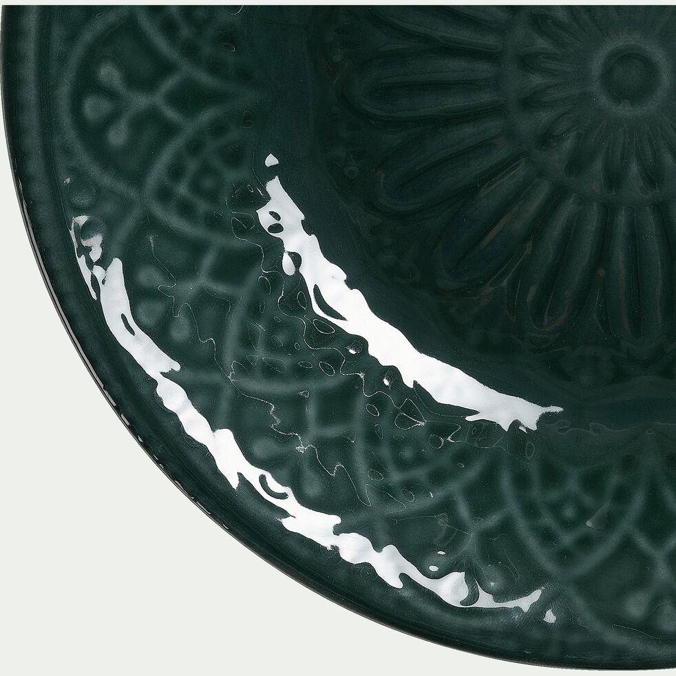 Assiette creuse en faïence - D24cm vert-POUDHA