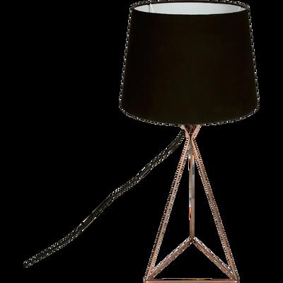 Lampe à poser H56cm en métal cuivre et abat-jour noir-SABRINA