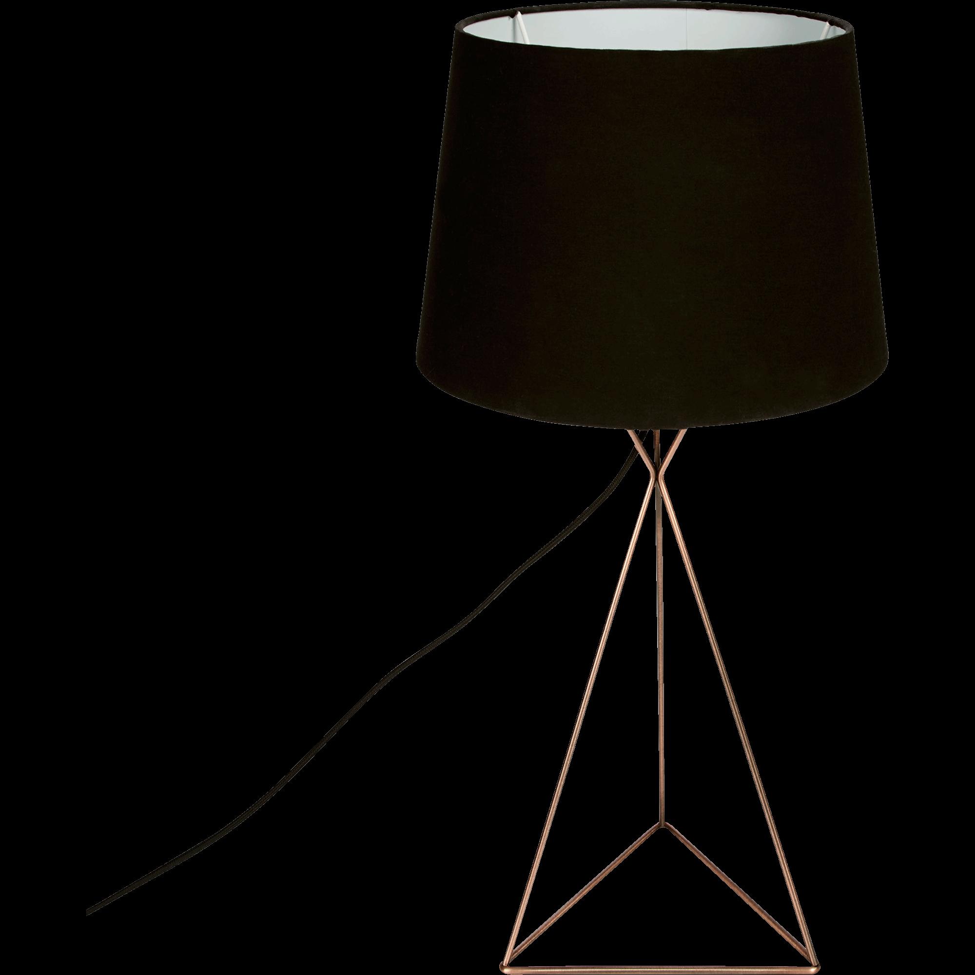 Lampe à Poser H56cm En Métal Cuivre Et Abat Jour Noir SABRINA