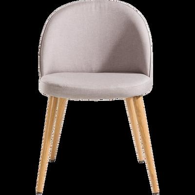 Chaise en velours gris clair-ROMANE
