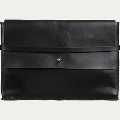 Porte-document en cuir noir H24x35cm-EUGENIE