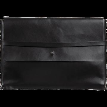 Porte-document en cuir noir H24x35cm-EUGENIE
