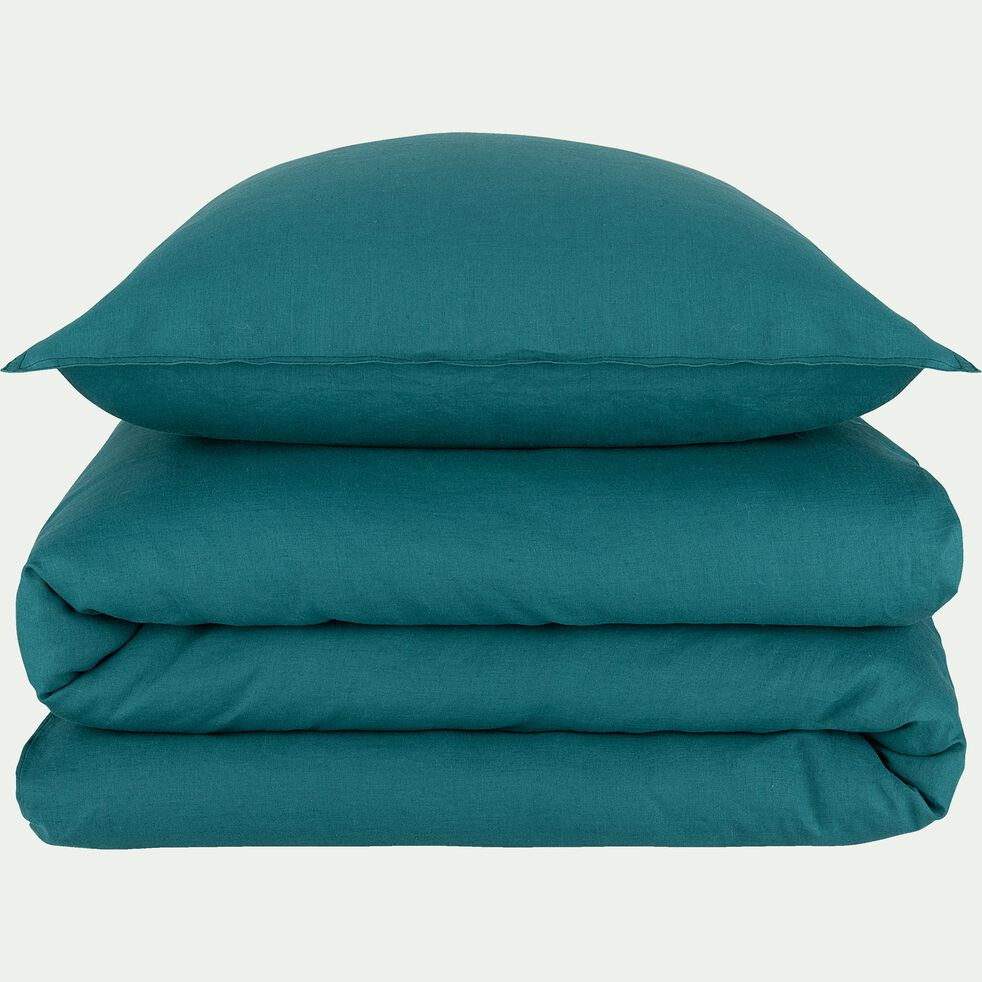 Drap housse en lin - vert 140x200cm B28cm-VENCE