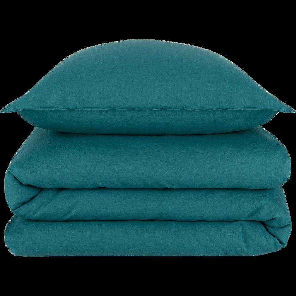 Drap housse en lin vert 140x200cm-VENCE