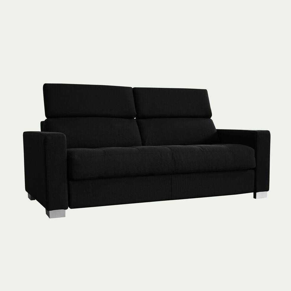 Canapé 3 places convertible en tissu avec accoudoir 15cm - gris anthracite-MAURO