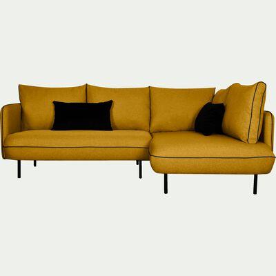 Canapé d'angle fixe droit jaune nèfle-SAOU