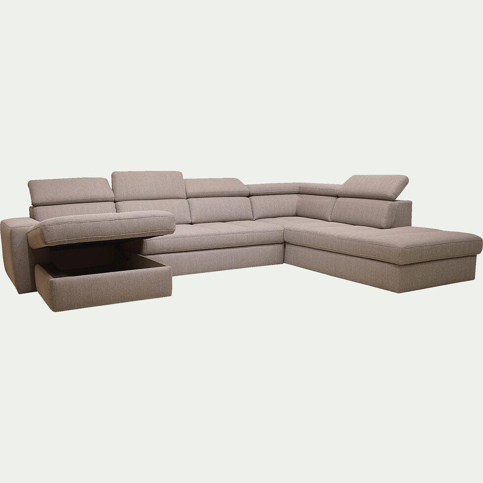 Canapé d'angle en U convertible avec méridienne à gauche en tissu - grège-TONIN